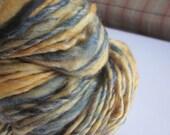 """handspun yarn """"sunshine on a cloudy day""""  2.3 oz  68yds"""