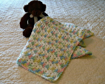 Crochet Baby Afghan White and Pastel Variegated