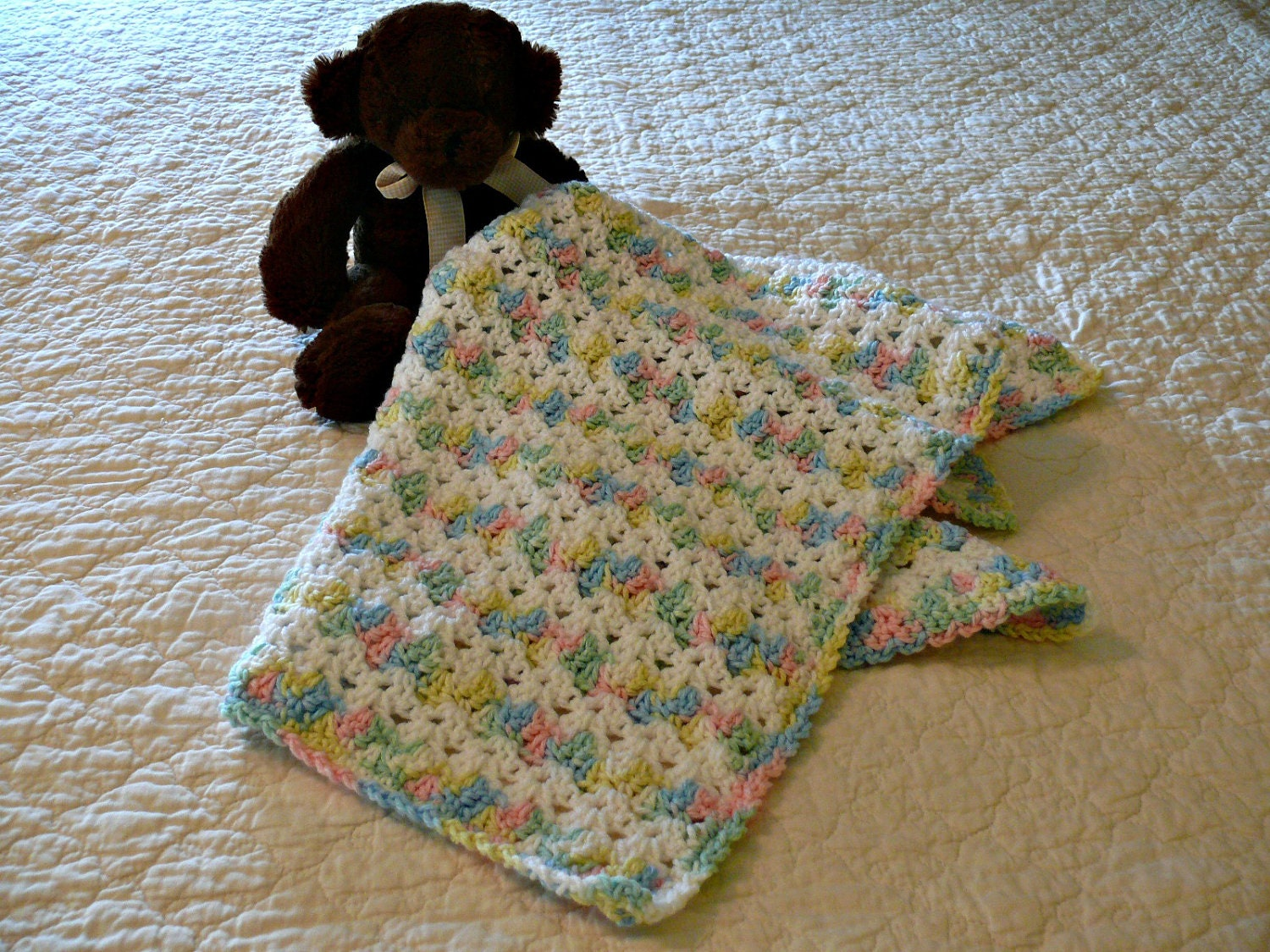 Crochet Afghan Patterns With Variegated Yarn : Crochet Baby Afghan White and Pastel Variegated by ...