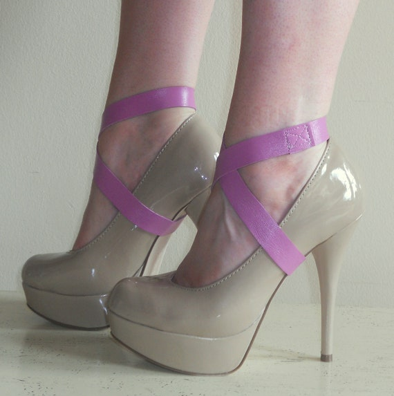 SPATS Lavender/Pink Leather Wrap Mini Spats - RECYCLED Shoe Accessories
