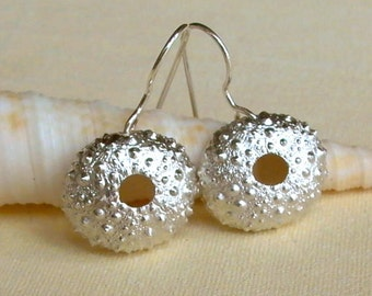 Sea Urchin Earrings - Silver Sea Urchins - Beach Earrings - Beach Wedding - Silver Shell Earrings - Nautical Earrings - Shell Earrings
