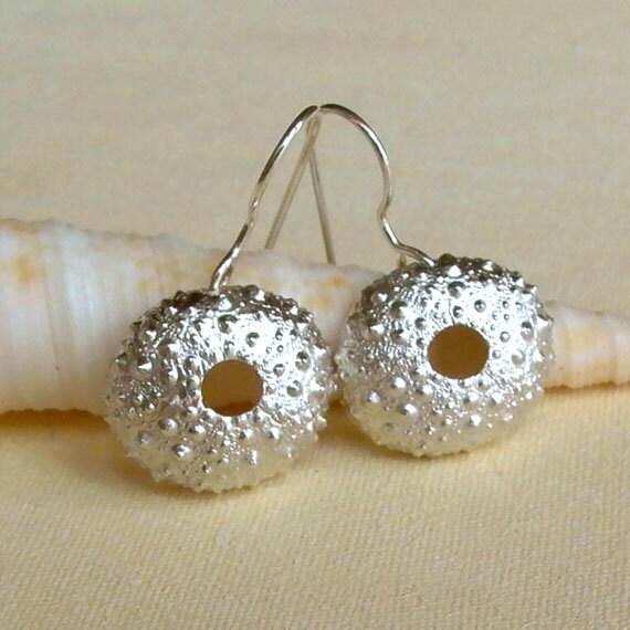 Sea Urchin Earrings - Silver - Bumpy - Beach Inspired - Beach Wedding - Organic - Natural - Nature Inspired - Shell Earrings