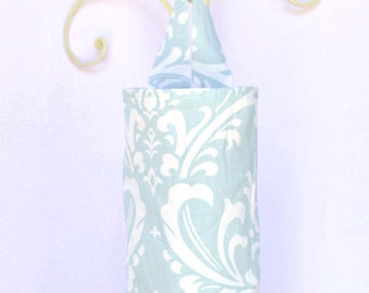 Fabric Plastic Grocery Bag Holder Smoky Light Blue and White Flourish