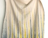 dish towel, Unbleached cotton Citrus Yellow with Gray stripes paint brush stroke design kitchen towel