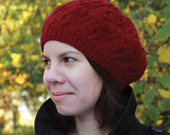 Urbane - Cabled Beret PDF knitting pattern / instructions