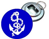 White and Blue Anchor Image Bottle Opener