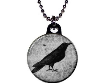 Black and White Damask Crow Necklace
