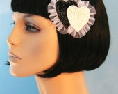 Double Ruffled Heart Hair Clip Accessory Cute Lolita Pinup Handmade by Cutie Dynamite