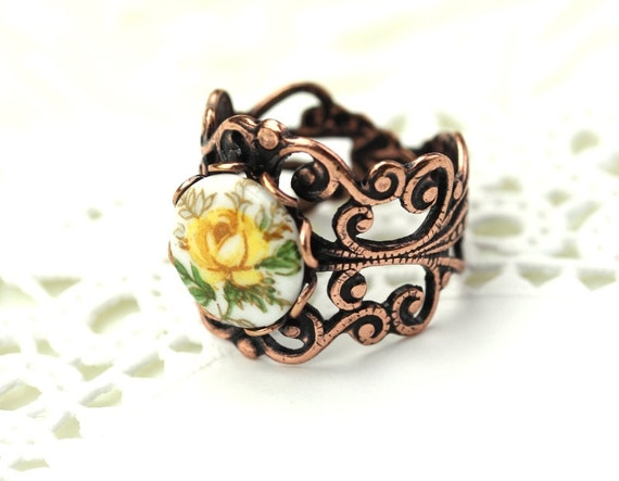 Yellow Rose Cameo Flower Ring Copper Ornate Filigree Adjustable Band R039