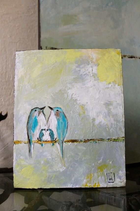 Honeysuckle Sky (New Original 8x10 Painting on canvas bird couple with baby blue bird)