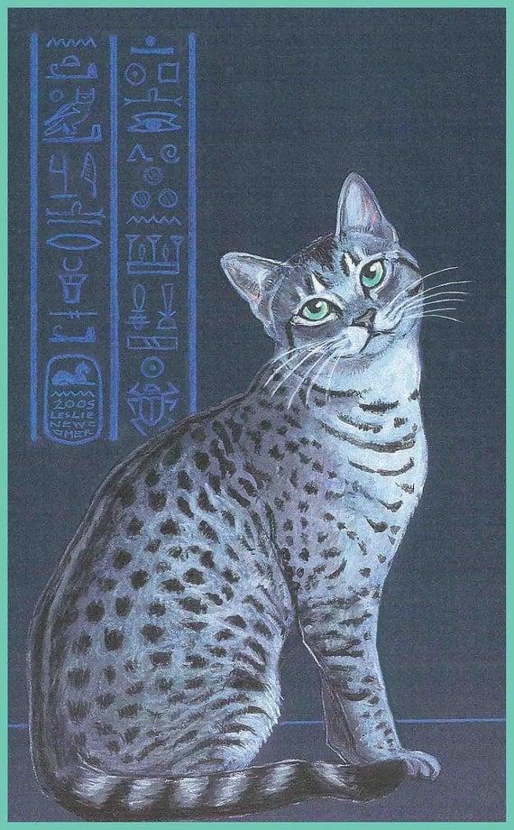 Silver Egyptian Mau Cat Art Print Pharoah's Treasure