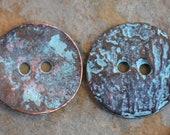 Greek Casting Cornflake Button - Green Patina Casting Cornflake Button Beads