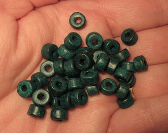 25 Dark Teal Green Mykonos Greek Ceramic Beads 6x4mm Mini Tube Beads