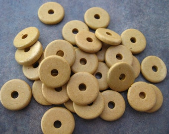 25 Sand 13mm Round Washer - Mykonos Greek Ceramic Beads