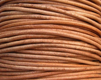 Round Leather Cord 2mm - Natural 6 yards