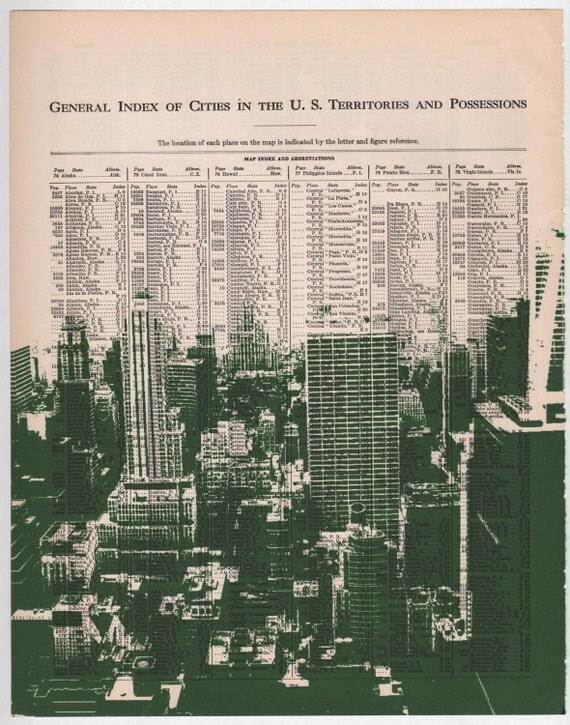New York City - Dark City no3 - 11 x 14 Book Page Print - Skyline