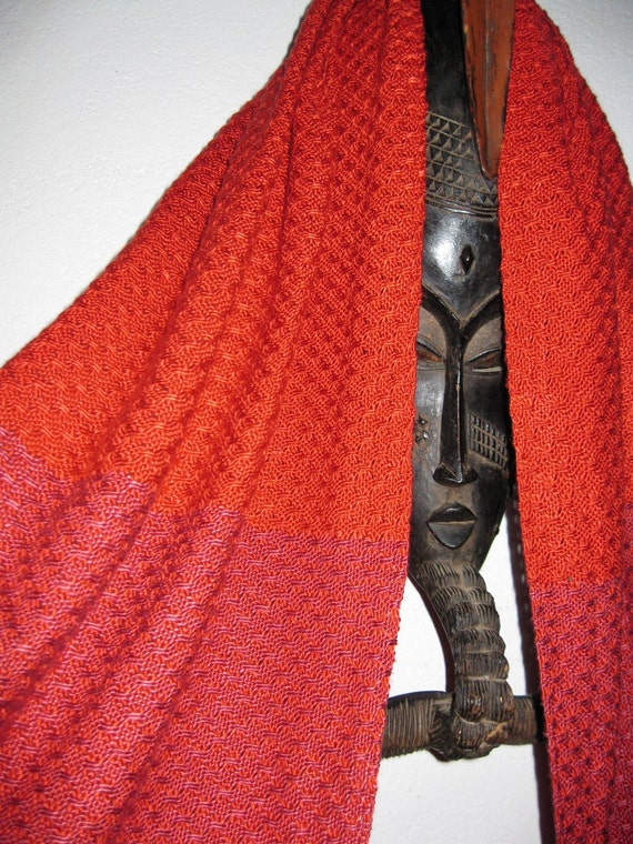 SPECIAL PRICE Handwoven Burnt Orange Silk Shawl