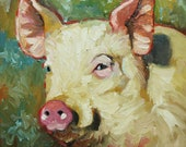 10x10 Print of oil painting Pig 8 by Roz