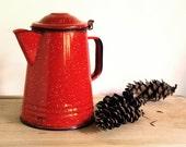 Vintage Red Graniteware Coffee Pot Camping Enamelware Boiler