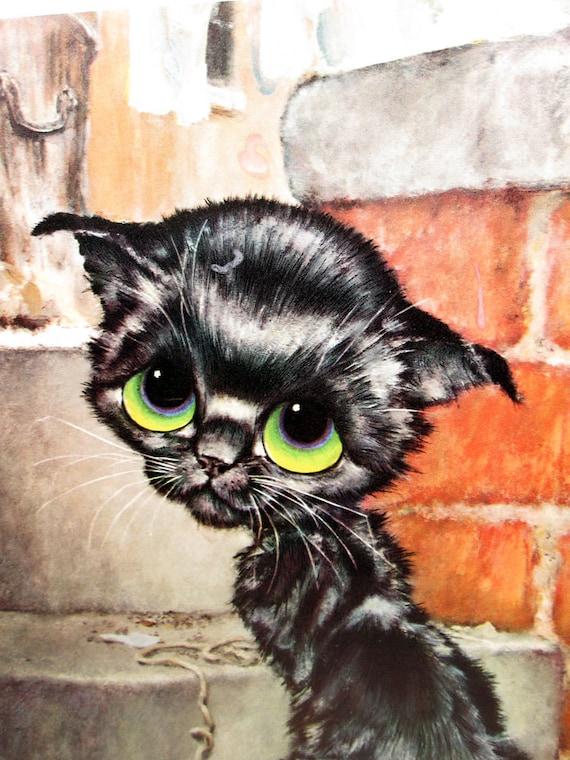 Vintage Gig Pity Kitty Illustration Print - Black Big Eye Cat Illustrated Poster