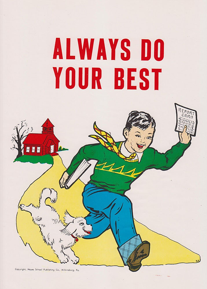 Vintage School Poster Always Do Your Best Good Manners