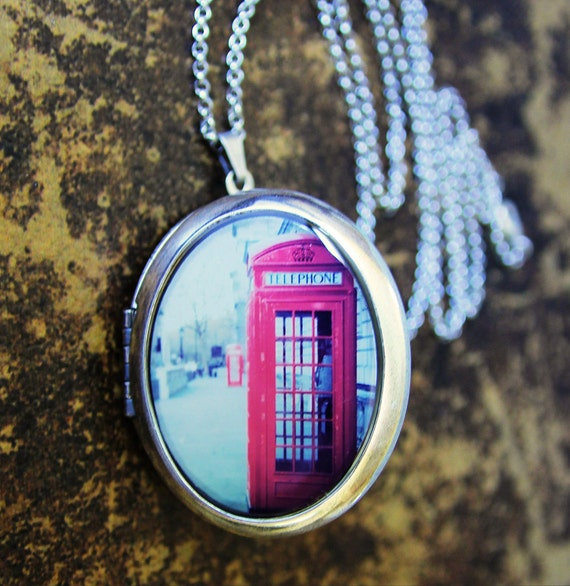Photo Locket - Hanging On The Telephone - Red Phone Booth in London England - Travel Photography
