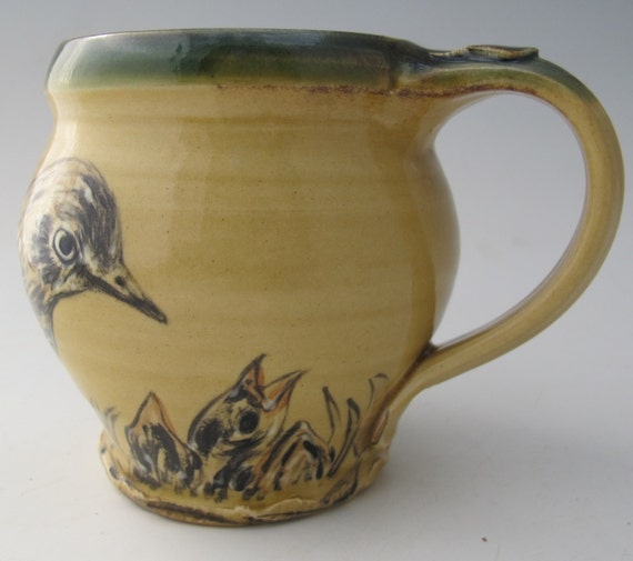 Mug with hand painted warbler bird babies stoneware pottery
