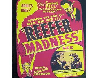 Reefer Madness mouse pad retro vintage pot propaganda poster kitsch Devil's Harvest