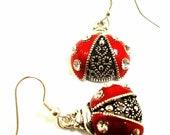 Earrings Metal Lady Bugs Red and Black