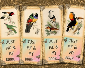 "JuST Me AnD My BooK -Set of 8 Vintage BiRD Art BOOkMARks/TaGs 2""x5""- Printable Collage Sheet Download JPG Digital File"