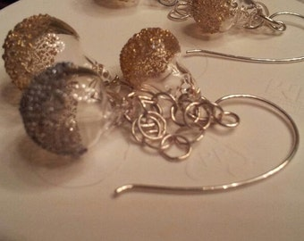 silver and gold, 3 bubble earrings