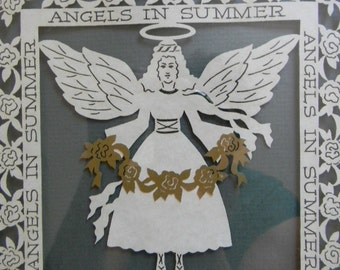 Vintage Angels in Summer Cut-out Paper Wall Hanging