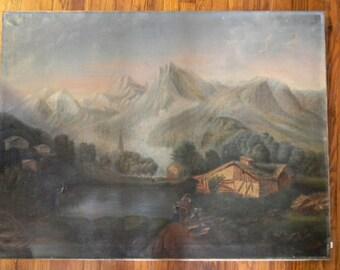 """Antique 34"""" x 45"""" Oil Painting on Canvas Landscape"""
