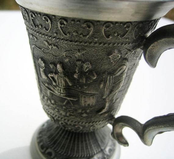 Vintage German Sampling Cup Zinn Small Pewter Decorative Cup Beer Tasting Mug