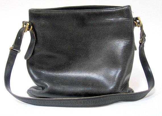 Vintage Coach Distressed Black Leather Shoulder Bag
