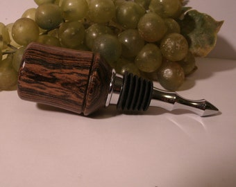 Wood Turned, Bocote Wood Stainless Steel Wine Bottle Stopper