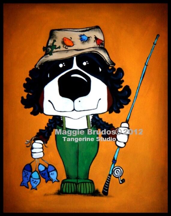 Bernese Mountain dog Fishing Whimsical ART Dog  Original Maggie Brudos canvas 8x10 Tangerine Studio