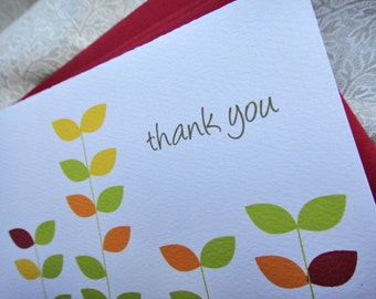 Happy Leaves Thank You Note Set (4 blank note cards with matching red envelopes)