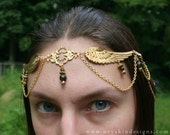Golden Goddess Winged Circlet - Gold Brass Headdress with Wings, Labradorite and Hair Combs