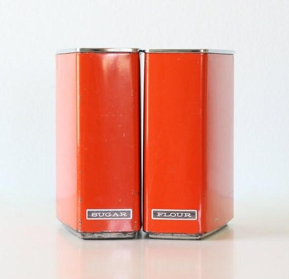 Retro Orange Kitchen Canisters - Sugar and Flour