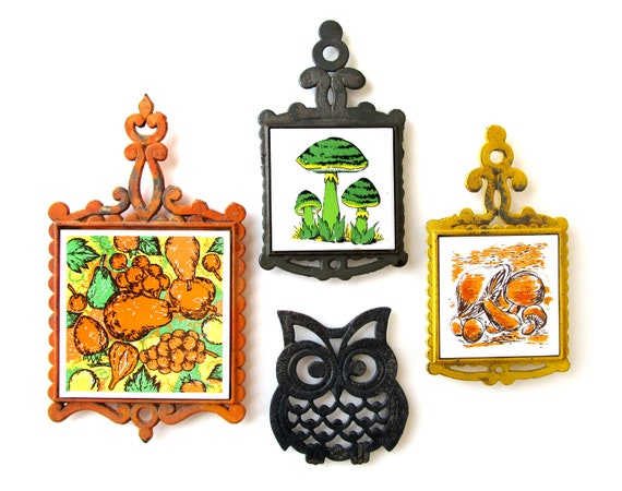 Trivet Collection of MUSHROOMS 'n OWL - Set of 4 Vintage Cast Iron Trivets