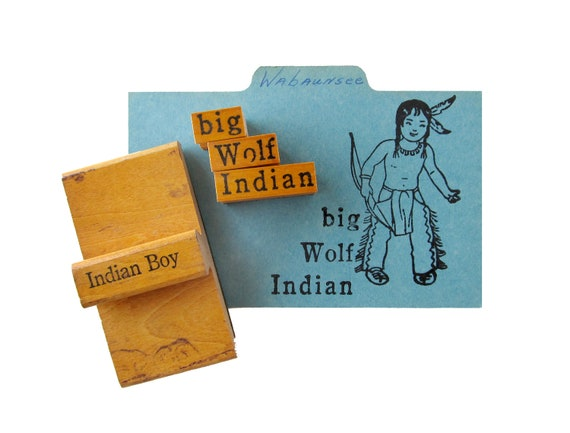 Vintage INDIAN BOY Rubber Stamps - Set of 4