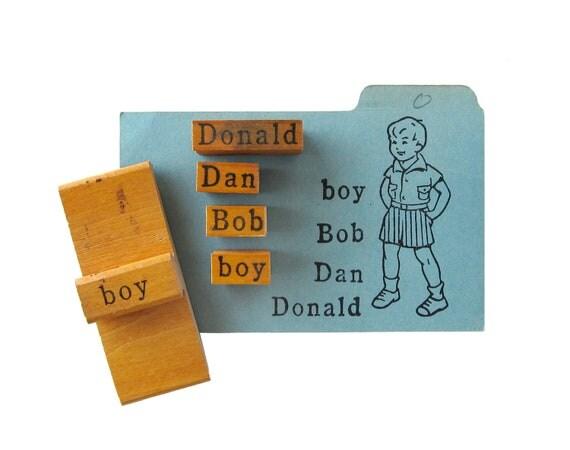 Vintage BOY Rubber Stamps - Set of 5
