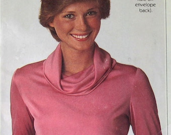 Vintage 70s Sewing Pattern Simplicity 8111 Misses Cowl Neck Blouse Bust 34 - 38 Inches  Complete