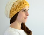Hand-Knit Hat - Transitive Property Slouch - Golden Yellow and Off White - ToilandTrouble