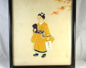Vintage picture, Japanese art - applique, collage in relief with painted decoration