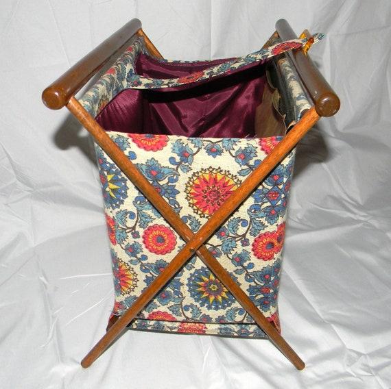 Vintage Folding Knitting Basket : Vintage knitting basket bag wooden frame by