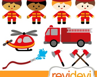 FIrefighter clipart - Boy Firefighter - Commercial use digital graphic cliparts, digital images - instant download
