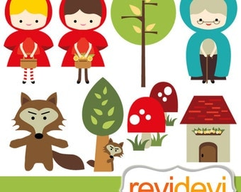 Little Red Riding Hood Clipart / commercial use digital clip art, instant download, red rising wolf clipart