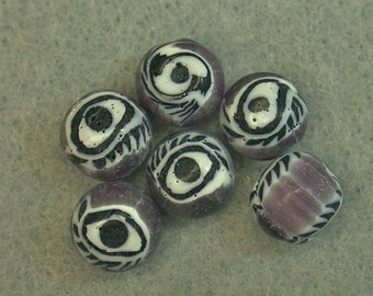 Vintage Glass EYE Beads PURPLE Black White Millefiori 9.5mm pkg6 eye12